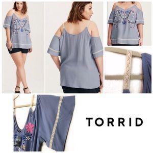 Torrid Cold Shoulder Blue Floral Shirt 3X 22/24 3